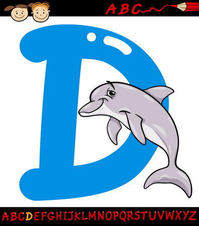 Cartoon Illustration of Capital Letter D from Alphabet with Dolphin Animal for Children Education Vector