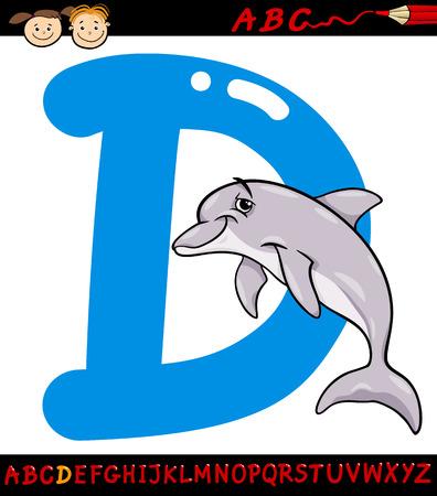 children education: Ejemplo de la historieta de May�scula D del alfabeto con Dolphin Animal para la Educaci�n Infantil