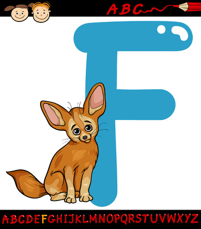Cartoon Illustration of Capital Letter F from Alphabet with Fennec Fox Animal for Children Education Illusztráció