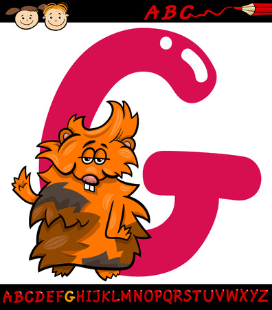 Cartoon Illustration of Capital Letter G from Alphabet with Guinea Pig Animal for Children Education Vector