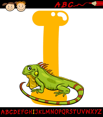 capitals: Cartoon Illustration of Capital Letter I from Alphabet with Iguana Animal for Children Education