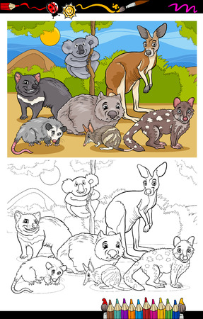 marsupials coloring book or page cartoon illustration of black and white funny marsupials mammals animals