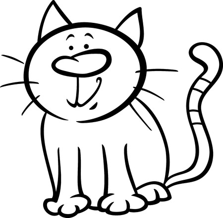 Black and White Cartoon Illustration of Funny Cat Pet Character for Coloring Book Vector