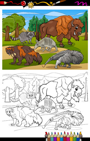 Coloring Book or Page Cartoon Illustration of Black and White Funny American Mammals Animals Characters Group for Children Vector