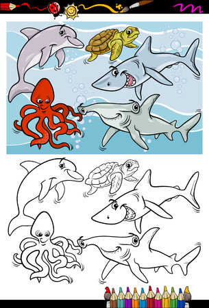 Coloring Book or Page Cartoon Illustration of Black and White Funny Sea Life Animals and Fish Characters for Children Vector