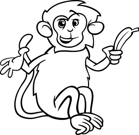 Black and White Cartoon Illustration of Cute Monkey with Banana for Coloring Book Vector
