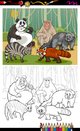 Coloring Book or Page Cartoon Illustration of Black and White Funny Asian Animals Group for Children Vector