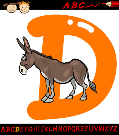 Cartoon Illustration of Capital Letter D from Alphabet with Donkey Animal for Children Education Vector
