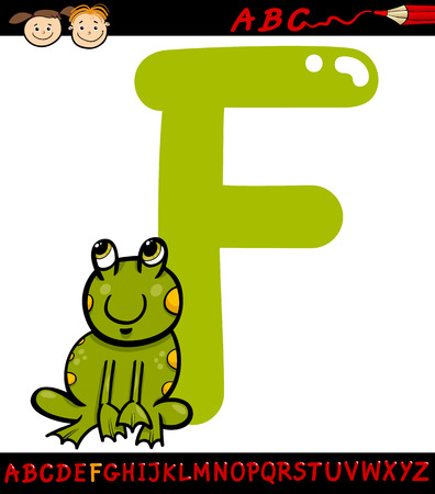 Cartoon Illustration of Capital Letter F from Alphabet with Frog Animal for Children Education Vector