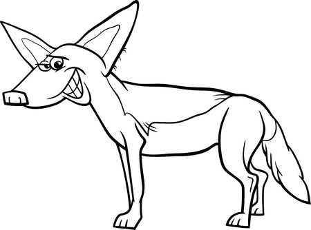 Black and White Cartoon Illustration of Funny Jackal Wild Animal for Coloring Book Vector