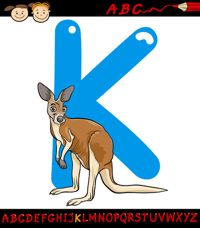 Cartoon Illustration of Capital Letter K from Alphabet with Kangaroo Animal for Children Education Vector