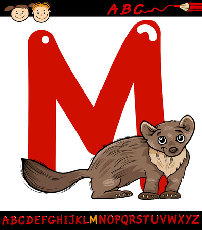 marten: Cartoon Illustration of Capital Letter M from Alphabet with Marten Animal for Children Education