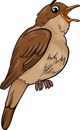 bird nightingale: Cartoon Illustration of Funny Nightingale Bird Animal