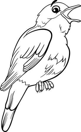 ruiseñor: Historieta blanco y negro Ilustración de Funny Nightingale Aves Animal para Coloring Book