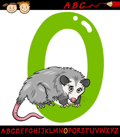 opossum: Cartoon Illustration of Capital Letter O from Alphabet with Opossum Animal for Children Education Illustration