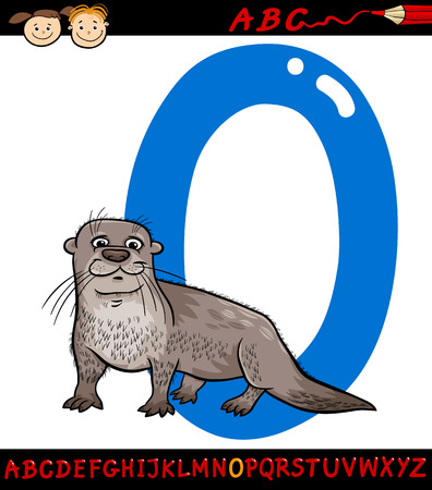 Cartoon Illustration of Capital Letter O from Alphabet with Otter Animal for Children Education Vector