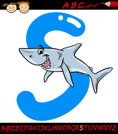 s alphabet: Cartoon Illustration of Capital Letter S from Alphabet with Shark Fish Animal for Children Education