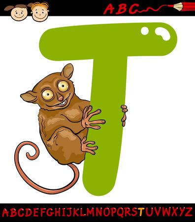 children education: Ejemplo de la historieta de May�scula T del alfabeto con Tarsier Animal para la Educaci�n Infantil