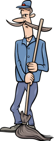 caretaker: Cartoon illustration of Funny Janitor Man with Broom or Caretaker