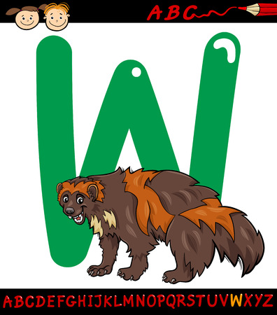 Cartoon Illustration of Capital Letter W from Alphabet with Wolverine Animal for Children Education Vector