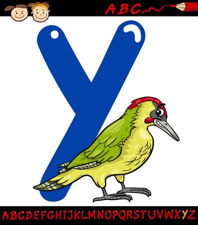alfabeto con animales: Ejemplo de la historieta de Mayúscula Y de Alfabeto con Yaffle Animal Pájaro de Educación Infantil Vectores