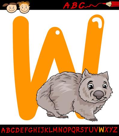 wombat: Ejemplo de la historieta de El Capital de la letra W del alfabeto con Wombat Animal para la Educación Infantil