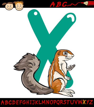 letter x: Cartoon Illustration of Capital Letter X from Alphabet with Xerus Animal for Children Education