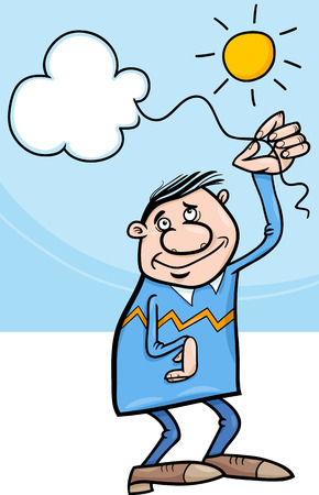 poetic: Cartoon Illustration of Happy Man with Cloud on a String