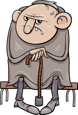 Cartoon Illustratie van Grumpy Old Man Senior