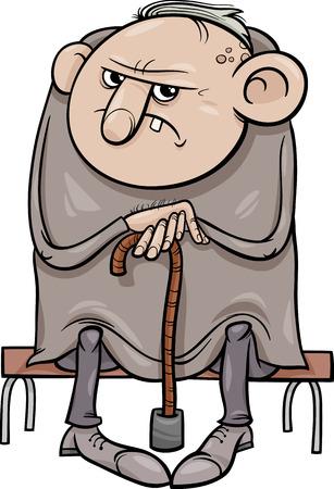 Cartoon illustrazione di Grumpy Old Man anziano Archivio Fotografico - 31051766