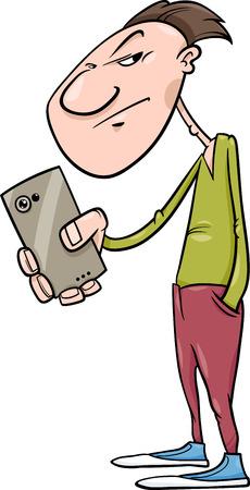 telefono caricatura: Ejemplo de la historieta del hombre de disparo o de rodaje con Smartphone Vectores