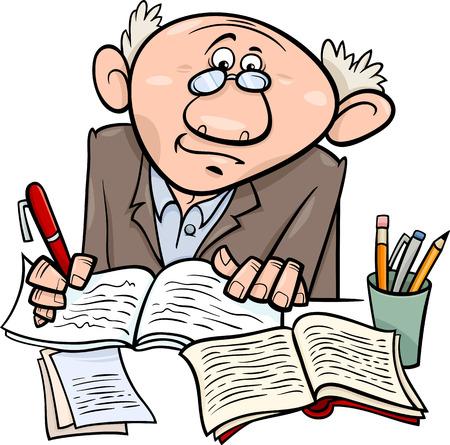 Cartoon Illustration of Professor or Scientist or Writer Taking Notes