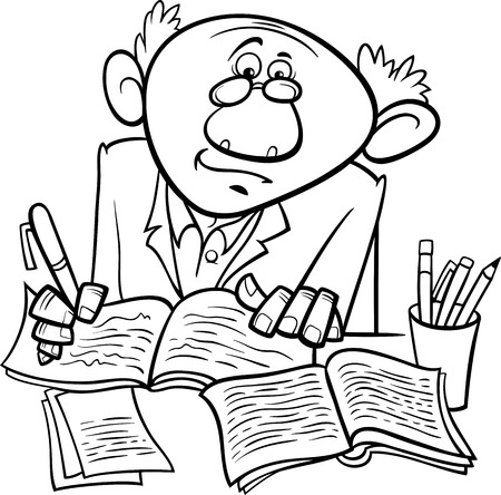writer: Black and White Cartoon Illustration of Professor or Scientist or Writer Taking Notes for Coloring Book
