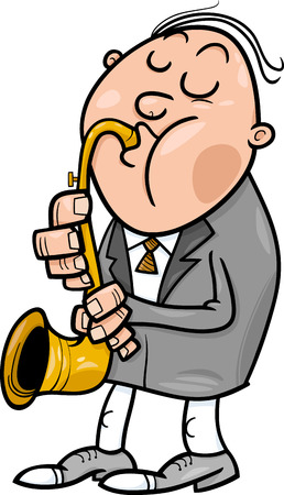 soloist: Cartoon Illustration of Musician playing on the Saxophone Instrument