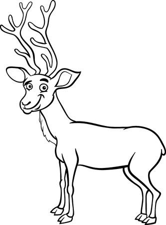 wapiti: Black and White Cartoon Illustration of Funny Wapiti or Uapiti Deer Animal for Coloring Book