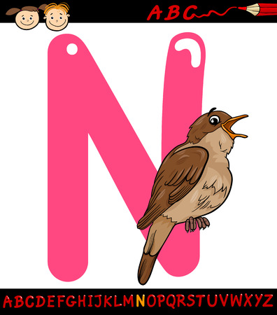 Cartoon Illustration of Capital Letter N from Alphabet with Nightingale Bird Animal for Children Education Vector