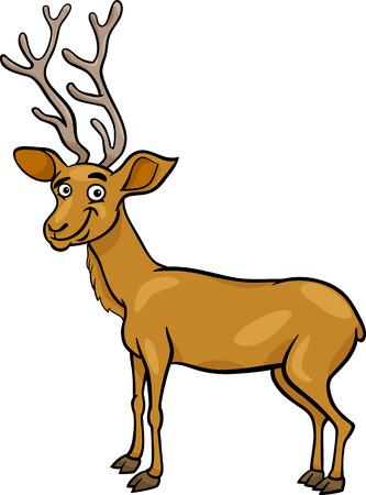 wapiti: Cartoon Illustration of Funny Wapiti or Uapiti Deer Animal Illustration