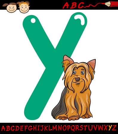 Cartoon Illustration of Capital Letter Y from Alphabet with Yorkshire Terrier Dog Animal for Children Education Vector