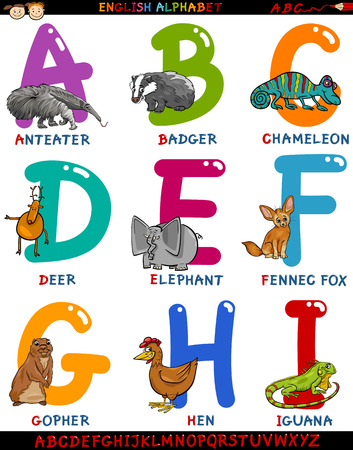 Cartoon Illustration of Colorful English Alphabet Set with Funny Animals from Letter A to I Vector