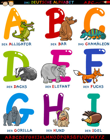 Cartoon Illustration of Colorful German or Deutsch Alphabet Set with Funny Animals from Letter A to I