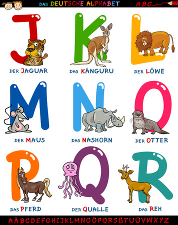 deutsch: Cartoon Illustration of Colorful German or Deutsch Alphabet Set with Funny Animals from Letter J to R