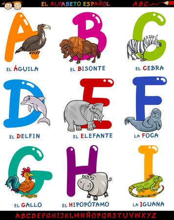 abc book: Cartoon Illustration of Colorful Spanish Alphabet or Alfabeto Espanol Set with Funny Animals from Letter A to I