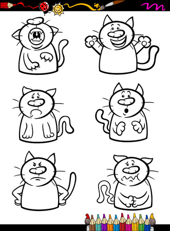 Coloring Book or Page Cartoon Illustration of Black and White Funny Cats Expressing Emotions Set for Children Vector