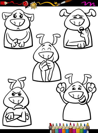 Coloring Book or Page Cartoon Illustration of Black and White Funny Dogs Expressing Emotions Set for Children Vector