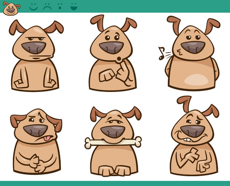malcontent: Cartoon Illustration of Funny Dogs Expressing Emotions Set