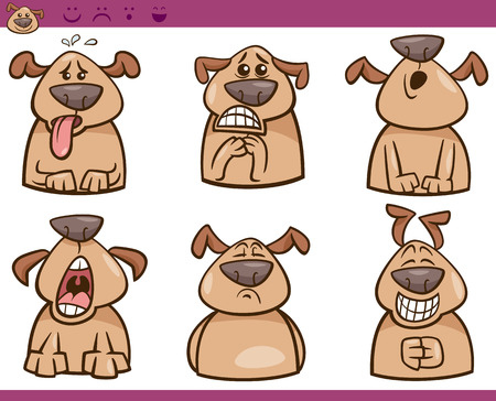 belch: Cartoon Illustration of Funny Dogs Expressing Emotions Set