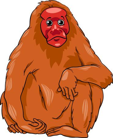 shaggy: Cartoon Illustration of Funny Bald Uakari Monkey Primate Animal Illustration
