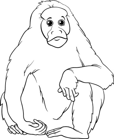 primate: Black and White Cartoon Illustration of Funny Bald Uakari Monkey Primate Animal for Coloring Book