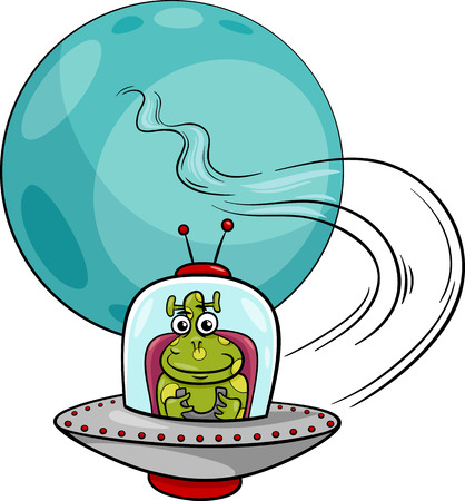 Cartoon Illustration of Funny Alien or Martian Comic Character in Ufo Spaceship Vector