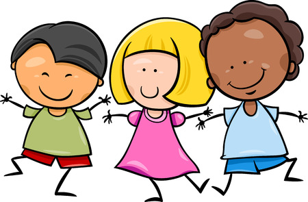 Cartoon Illustration of Cute Happy Multicultural Children Boys and Girl Characters